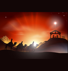 Traditional christmas nativity scene vector