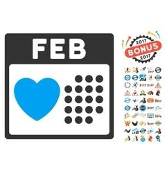 Valentine february day icon with 2017 year bonus vector