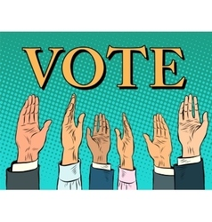 Voting hand picks up a voice of support vector
