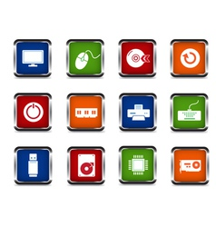 web computer icon set vector image