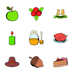 Harvesting day icons set cartoon style vector