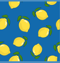 Seamless pattern lemon on blue background vector