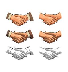 Handshake color vintage engraving vector