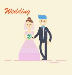 Groom and bridecouple holding hands on wedding vector
