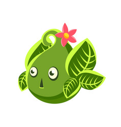 Cute fantastic green plant character in the form vector
