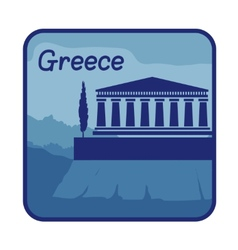 With acropolis of athens in greece vector