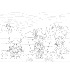 Fantasy heroes in forest contour vector