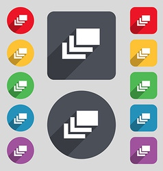 Layers icon sign a set of 12 colored buttons and a vector