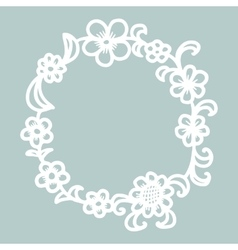 Hand drawn floral round frame vector image