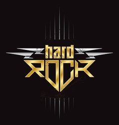 Gold and silver hard rock badge - original vector