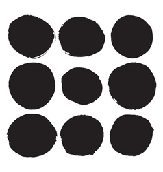 Set of black round ink stains grunge circles vector