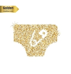 Gold glitter icon of diaper isolated on vector