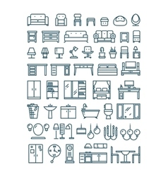 Furniture and sanitary line thin icons vector