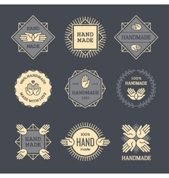 Outline handmade labels set on dark background vector