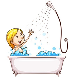 A girl enjoying the shower vector image vector image