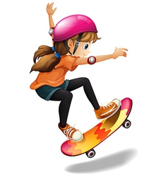 A girl skateboarding vector image