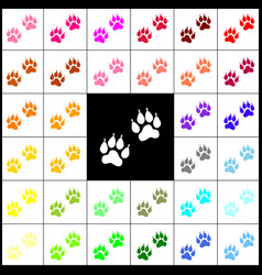 Animal tracks sign felt-pen 33 colorful vector