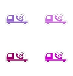 Assembly realistic sticker design on paper truck vector