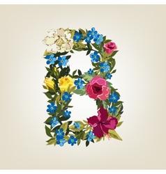 B letter flower capital alphabet colorful font vector