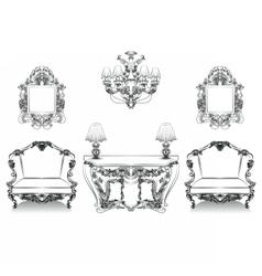 Baroque Interior collection set vector image vector image