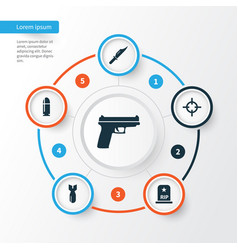 Battle icons set collection of slug rip weapons vector
