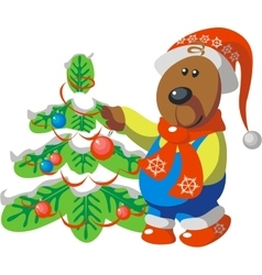 Bear with tree color 08 vector image vector image