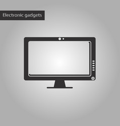 Black and white style icon computer monitor vector