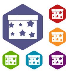 box magician icons set vector image vector image