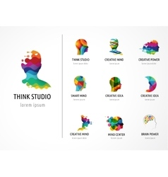 Brain creative mind man head learning icons vector
