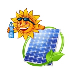Cartoon solar panel with sun vector
