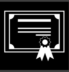 certificate the white color icon vector image