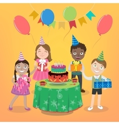 Children party with happy boys and girls vector