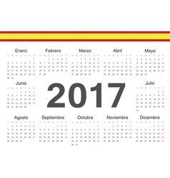 Circle spanish 2017 year calendar vector