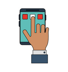 Color image closeup hand pressing an app in vector
