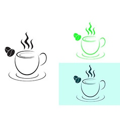 Cup of hot coffee logo sign vector image vector image