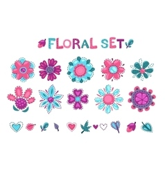Cute floral elements set vector image vector image