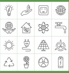Ecology and energy line icons vector