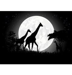 Giraffe silhouette with giant moon background vector image