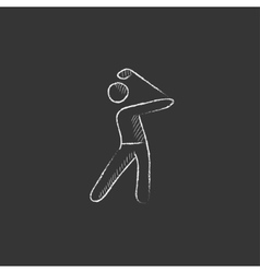 Golfer drawn in chalk icon vector