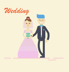 Groom and bridecouple holding hands on wedding vector