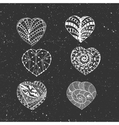 Hand drawn chalk hearts set vector
