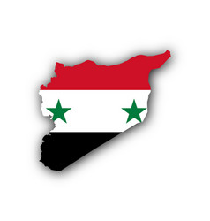 map and flag of syria vector image vector image