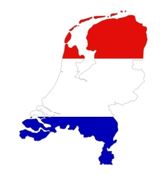 Map and flag of the Netherlands vector image vector image