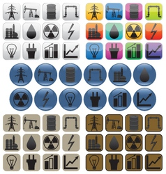 Oil gas and electric power industry icons vector