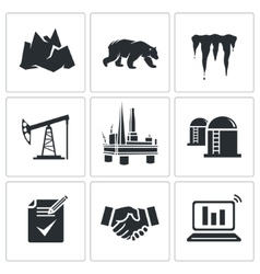 Oil production in the Arctic Icons Set vector image