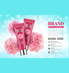 pink cream bottles on soft blue background with vector image vector image