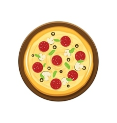 Pizza and wooden plate vector