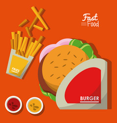 Poster fast food in orange background with burger vector