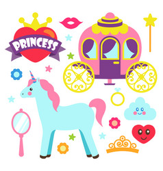 princess party unicorn poster vector image