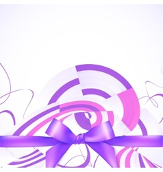Purple ribbon and bow abstract background vector image